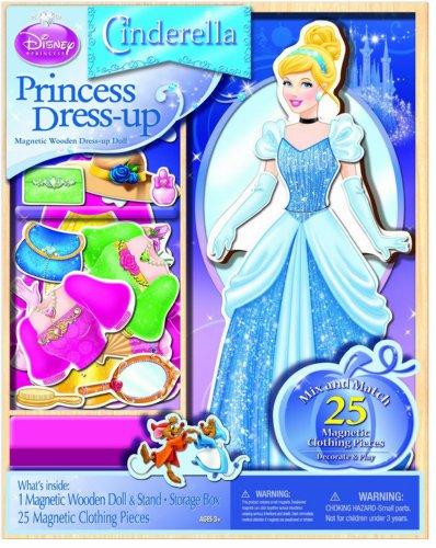 [해외]디즈니 프린세스 상품 신데렐라 나무 퍼즐 스타일링 세트 자석 드레스 인형 놀이/Disney Princess Collectibles Cinderella Wooden Puzzle Dressup Set Magnet Dress Up Play Doll Play