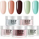 TOMICCA Dip Powder Bright Colors Set - 5 Bright Fruity Colors Dipping Powder Nails Set for French Manicure Nail Art, No UV La