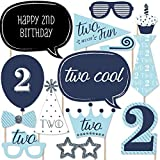 Two Much Fun - Boy - 2nd Birthday Party Photo Booth Props Kit - 20 Count [並行輸入品]