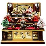 雛人形 久月 ひな人形 雛 三段飾り 五人飾り 秀峰雛 西陣織金襴 十番親王 三五官女 駿河古典蒔絵 h313-k-1029 D-15