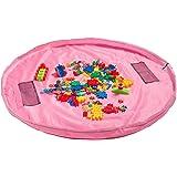 おもちゃ収納袋 プレイマット マット 自宅 & 外遊び 雑貨 おもちゃ プロック 積み木 片付け上手 防水素材 折り畳みで便利 収納用品 (Pink)