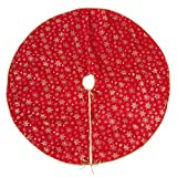 """SARO LIFESTYLE Flocon de Neige Collection Red Organza Christmas Tree Skirt With Gold Snowflake Design, 48"""""""