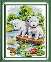 LovetheFamily クロスステッチキット DIY 手作り刺繍キット 正確な図柄印刷クロスステッチ 家庭刺繍装飾品 11CT ( インチ当たり11個の小さな格子)中程度の格子 刺しゅうキット フレームがない - 28×38 cm 蓮の池の白い犬2頭