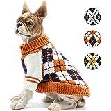 BOBIBI Dog Sweater of The Diamond Plaid Pet Cat Winter Knitwear Warm Clothes,Orange,Medium
