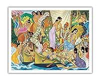 アロハ。 。 。ユニバーサルワード - 航海のための古代ハワイのセレモニー - ビンテージな遠洋定期船のメニューの表紙 によって作成された ユージェーヌ・サヴェッジ c.1940s - アートポスター - 28cm x 36cm