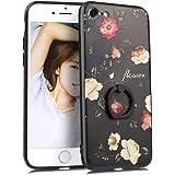 YUYIB iPhone8 ケース リング付き iPhone SE ケース [第2世代] iPhone7 ケース かわいい 花柄 ディズニー 浮き彫り キャラクター ストラップホール アイフォン8ケース (iPhone7/iPhone8/iPhone