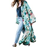 Ausexy Autumn FEITONG Fashion Women's Bohemia Floral Tassel Long Kimono Oversize Shawl Cover Up Blouse Tops Coat Jacket