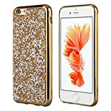 EseekGO iPhone6 専用高品質TPUケース、キラキラiPhoneケース、ソフト、 超薄保護 iPhoneカバー[衝撃吸収][落下防止]高級人造のラインストーン付き―ゴールデン
