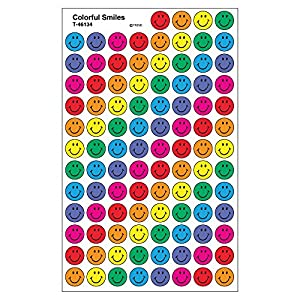 Trend Enterprises トレンド superSpots Stickers Colorful Smiles 【ごほうびシール】 ニコニコご褒美シール 7色 (800枚入り) T-46134