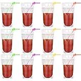WINOMO カラーストロー ジュース飲料袋 チャック袋 使い捨て 保存バッグ 半透明 飲み物バッグ ドリンク持ち運び便利 50PCS
