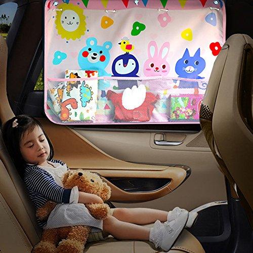 Suerba 車用 サンシェード 日よけ 遮光 断熱 紫外線対策 車用カーテン 後部窓用 UVカット 吸盤タイプ 収納ポケット付き 仲良し