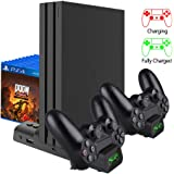 FCXJTU PS4/ PS4 Slim/ PS4 Pro Cooler Cooling Fan, [Latest Upgraded] Multifunctional Vertical Cooling Stand and Dualshock Cont