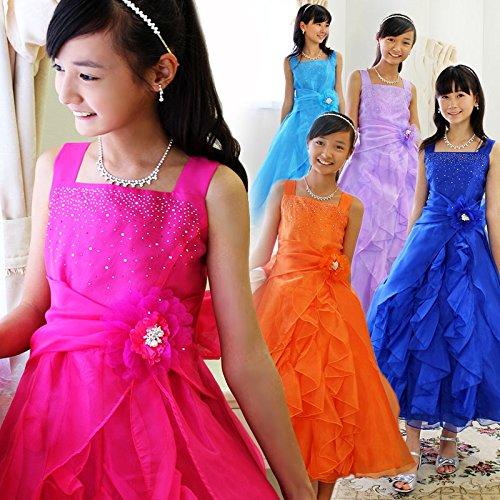 子供ドレス エストレーラ ピアノ発表会 結婚式 ロングドレス [プリンセスセレクション] Princess Selection ターコイズブルー 140cm