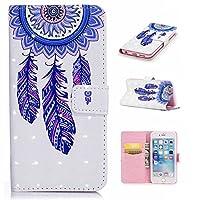 iPhone6 Plusケース iPhone6sPlusケース CUSKING アイフォン6 プラス 6s プラス手帳ケース カード収納付き PUレザー アニメ かわいい 財布型 カバー ノート型 フリップ 保護ケース - ブルー, 夢キャッチャー