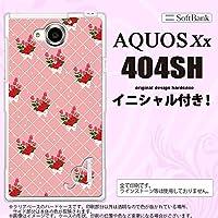404SH スマホケース AQUOS Xx カバー アクオス ダブルエックス イニシャル 花柄・バラ(K) ピンク nk-404sh-266ini L