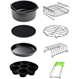 """Air Fryer Accessories 8 Pcs Kits with Skewers Silicone Mat 7"""" Pizza Pan Metal Holder Stainless Steel Fits All 3.2QT - 6.8QT"""