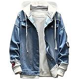 Macondoo Men Jean Coat Destroyed Hole Button-Down Hooded Denim Jacket