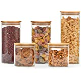 EZOWare 5 Piece Clear Glass Jars Air Tight Canister Kitchen Food Storage Container Set with Natural Bamboo Lids for Candy, Co