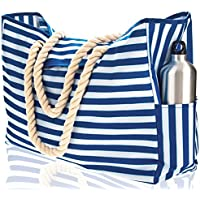 """Beach Bag XXL. 100% Waterproof. L22""""xH15""""xW6"""" (56x38x15cm) w Rope Handles, Top Magnet Clasp, Outside Pockets. Blue Stripes Shoulder Beach Tote Includes Phone Case, Built-In Key Holder, Bottle Opener"""