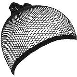 1ピースユニセックスウィッグキャップメッシュ弾性ウィッグキャップ女性ロングヘアオープンエンドウィッグキャップヘアアクセサリーby TheBigThumb、ブラック