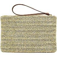 Hycurey Straw Zipper Clutch Bag Bohemian Wristlet Womens Summer Beach Sea Purse and Handbag