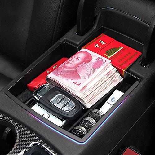 RIMIDI アウディQ5 2008-2015 内装 センター コンソール ボックス トレイ ゴムマット付き 整理 収納 小物入れ カードケース コインケース カスタム アームレスト