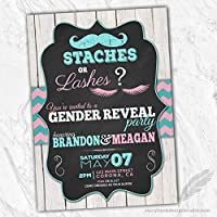 StachesまたはLashes Gender Reveal招待状( Set of 10) Personalized