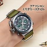 時計、メンズ腕時計デジタルアナログスポーツファッションウォッチ、多機能LED日付アラームレザー防水腕時計 (グリーン)