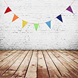 Kesoto バナー ガーランド 三角形 三角旗 DIY バナー 誕生日 バースデー クリスマス  飾り付け インテリア デコレーション 写真小物 全5色 - 虹