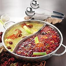 鴨鍋の厚さのステンレス鋼 鍋 ポット 炊飯器 特別なポット 仕切り付鍋 仕切り鍋 二つの味が楽しめる 二食鍋 両手鍋 2種類の鍋を同時に調理可能