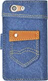 PLATA Xperia エクスペリア A4 SO-04G 用 ポケット 付き デニム ケース ポーチ 手帳型 ポーチ 【 ブルー 青 あお blue 】 DSO04G-95-A