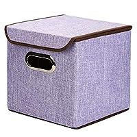 収納ラック ポータブル綿の衣類収納ボックス収納ボックスステンレス製の事務用品、ファイルストレージボックス デスクブックシェルフ (色 : 紫の, サイズ : S(25*25*25cm))