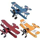 eZAKKA 90x50mm Vintage Metal Planes Model Retro Iron Aircraft Biplane Pendant Model Tin Toys for Home Decoration Photo Props