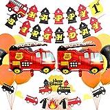 誕生日セット飾り 風船 飾りつけ セット 消防車 男の子 誕生日 100日 半歳 一歳 happy birthdayバナー ガーランド ケーキ挿入カード アルミ風船 ラテックス風船