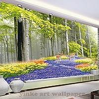 bzdhwwhフォト壁壁画壁紙Beauty景色グリーンツリーキリン壁壁画ソファテレビの壁紙ベッドルームのホームデコレーション 6989548226049