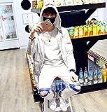 【Topics Garden】 メンズ ロング ウィンドブレーカー 薄手 フード付き おしゃれ UVカット アウトドア スポーツ (エコバッグ付き)