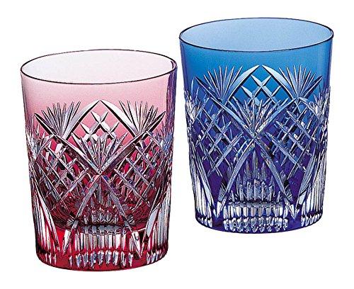 カガミクリスタル 江戸切子 笹っ葉に斜格子 紋 ペアマイグラス #2652 日本製