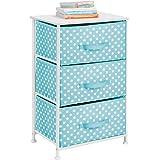 mDesign Vertical Dresser Storage Tower - Sturdy Steel Frame, Wood Top, Easy Pull Fabric Bins - Organizer Unit for Child/Kids