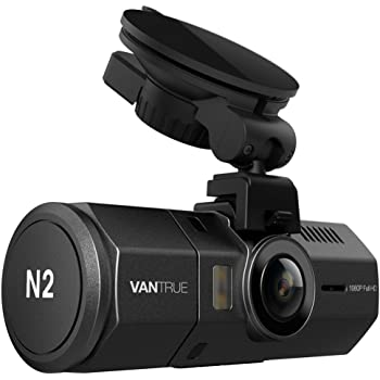 ドライブレコーダー 前後カメラ VANTRUE N2 車内+車外 1080P フルHD 200万画素 駐車監視 170度+140度 広視野角 2カメラ デュアルレンズ/前後同時録画/LED信号機対応/HDR 暗視機能搭載/Gセンサー/1.5インチ液晶ディスプレイ/動体検知/高温保護/【 18カ月保証 】12V 24V車に対応 (GPS部品別売)