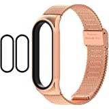 1 Mi Band 5 Strap Metal + 2 Mi Band 5 Screen Protector, 16mm Replacement Band Strap for Xiaomi Mi Band 5 Global Version Smart
