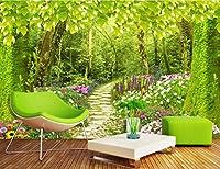 Minyose カスタマイズされたサイズ写真3Dの壁紙森の小道の花草風景の背景壁の壁画リビングルームの寝室の壁紙-250cmx175cm