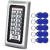 HFeng Standalone IP68 Waterproof RFID Access Control Keypad Metal Card Reader + 10pcs 125KHz Proximity Keychains WG26 2000 Us