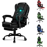 ALFORDSON Massage Executive Office Chair with Footrest PU Leather Home Computer Desk Swivel Chair in Black Colour