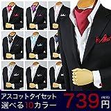 アトリエ365 アスコットタイ ドレスアップセット カフスボタン ポケットチーフ ONESIZE ホワイト