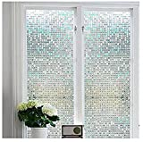 Bloss Privacy Stained Glass Window Film Home/Bedroom/Bathroom/Office Glass Window Cling Mini Mosaic Design 17.7 By 78.7 1 Roll [並行輸入品]