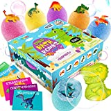 Dino Egg Bath Bombs with Surprise Inside for Kids Dinosaur in Each Fizz Egg Surprise Eggs – Dino bomb for Bonus - With Learning Cards - Kids Bath Bombs & Toys Inside - Great Gifts for Girls & Boys