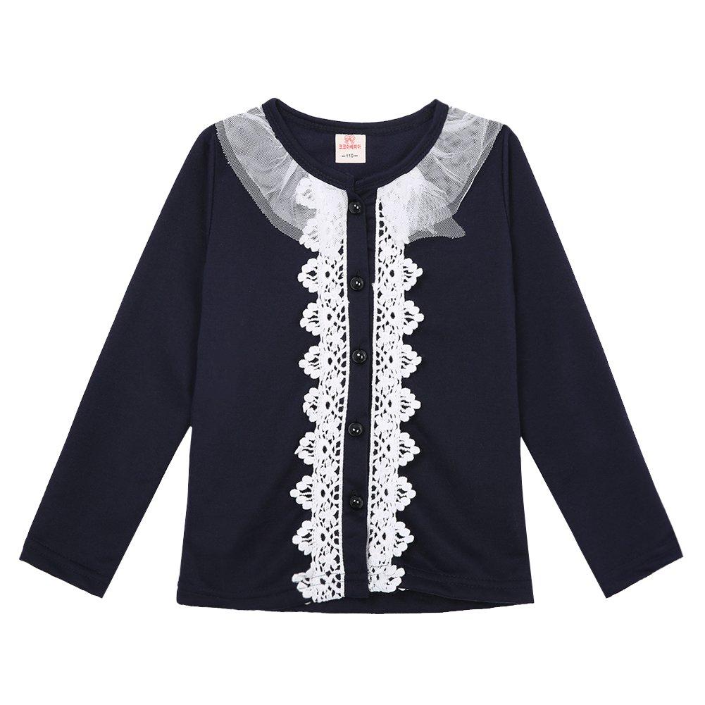 534cf3db5b849 FILCO 子供服 女の子 カーディガン 綿 長袖 丸首 可愛い レース刺繍 キッズボレロ フォーマル 入園式