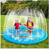 Nokil スプリンクル&スプラッシュプレイマット 空気注入式 アウトドアスプリンクラーパッド 水遊び 子供 幼児 男の子 女の子 子供用 170cm イエロー