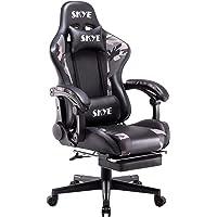 SKYE ゲーミングチェア オットマン付き オフィスチェア デスクチェア パソコンチェア ゲーム用チェア リクライニング…
