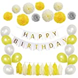 Happy Birthday Decoration Set - Banner with Paper Pom Poms Flower, Tassel Garland and Balloon for Birthday Party Decorations